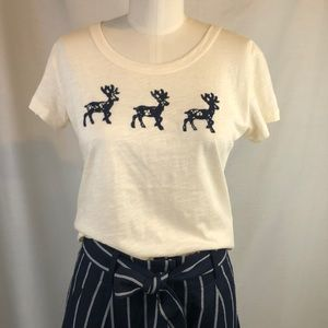 J CREW  Lace Reindeer T Shirt Size s